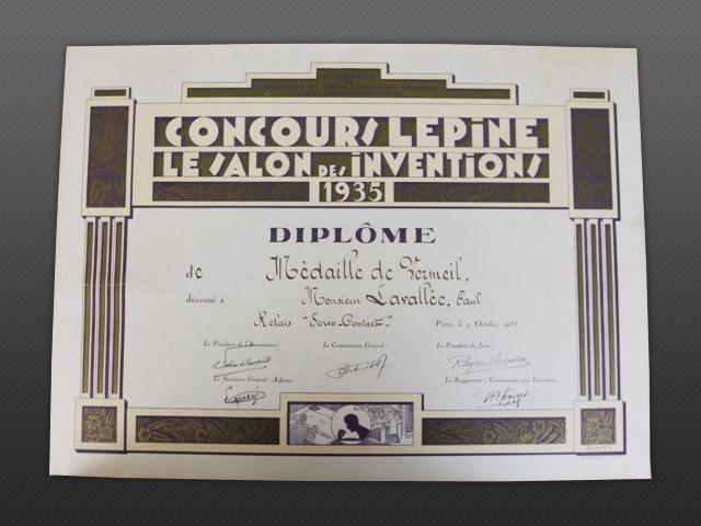 Diplôme Concours Lépine 1935