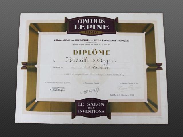 Diplôme Concours Lépine 1936